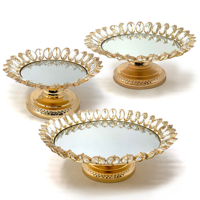 Crystal Gold Plated Dessert Cake Stand with Mirror Plate (Gold Lotus)