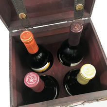 Allgala Wooden Wine 4-Bottle Chest with Antique Finish - HD90201