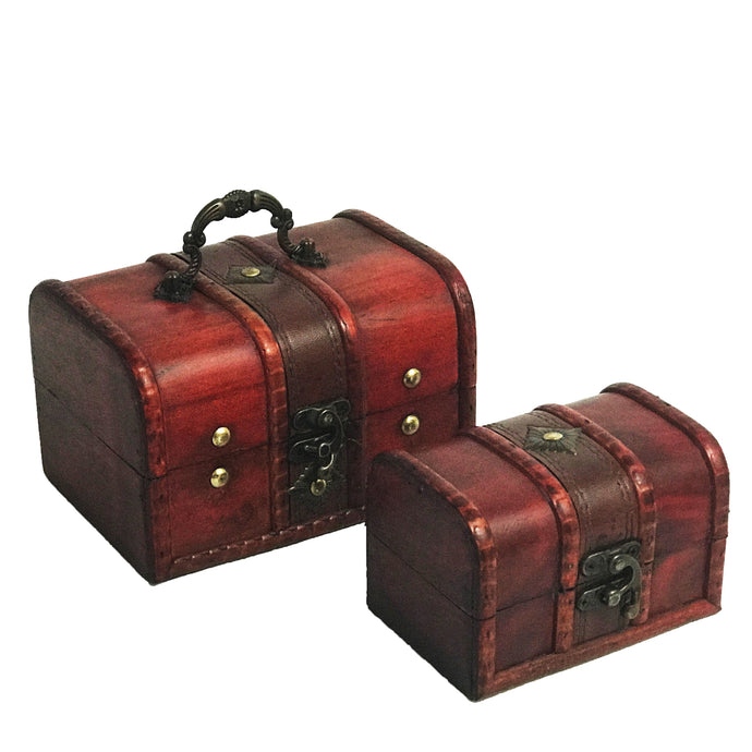 Allgala Antique Wooden Jewelry Treasure Keepsake Box 2-PC Set