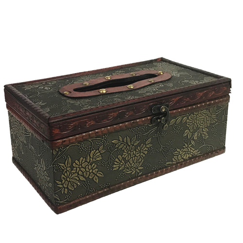 Allgala Antique Wooden Tissue Box Holder, Flat Top Style