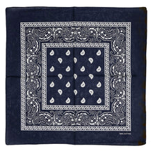 Allgala 12-pc 100% Cotton Bandanas, Paisley Pattern, Navy Blue