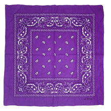 Allgala 12-pc 100% Cotton Bandanas, Paisley Pattern, Purple