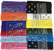 12-PC 100% Cotton Premium Bandanas, 12 colors assorted