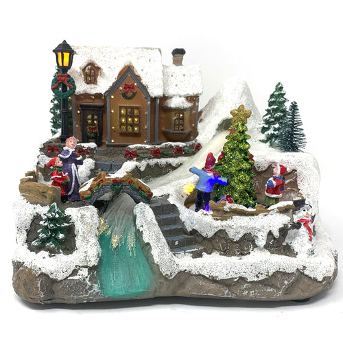 Allgala Crafted Polyresin Christmas House Collectable Décor Building House Figurine with USB and Battery Dual Power Source-House and river-XH93406