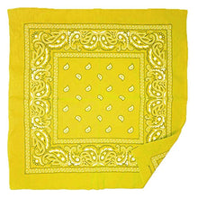 Allgala 12-pc 100% Cotton Bandanas, Paisley Pattern, Yellow