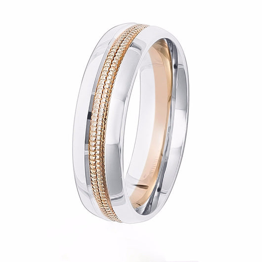 Two-tone comfort fit wedding band with a white gold base and a  double milgrain row in center.