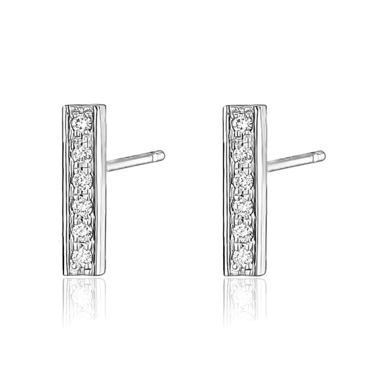 Diamond bar earring in 14k white gold