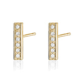 Diamond bar earring in 14k yellow gold