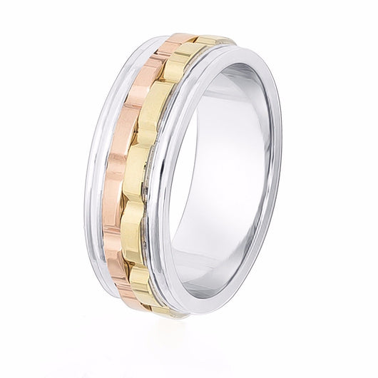 Tri-color 14 kt white, rose and yellow gold wedding band on a shiny white base with raised satin finish yellow and rose gold off-set sections.