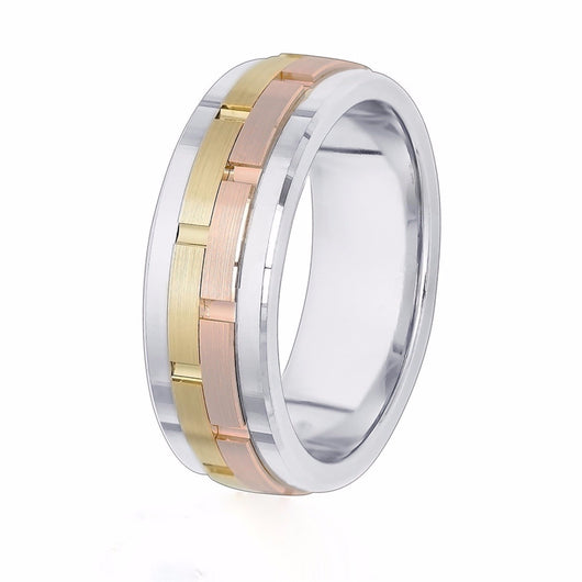Rose and yellow gold sections are offset on a bright, shiny solid 14k white gold wedding band.