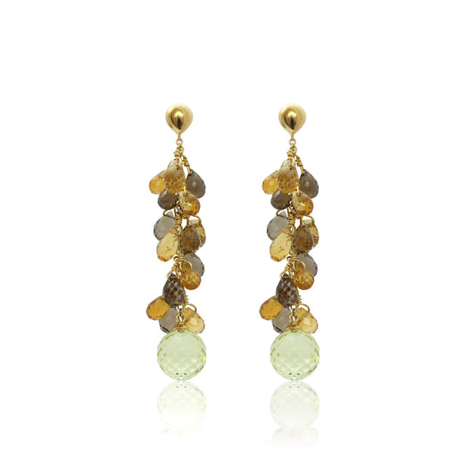 Cascading earrings with faceted tear-drops of citrine and topaz