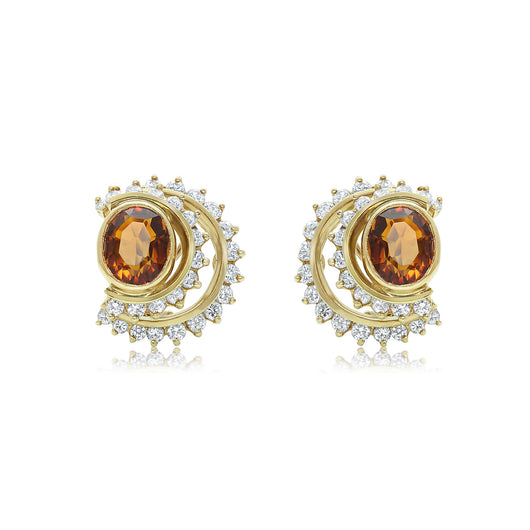 Citrine and two tier diamond row earrings