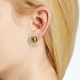 Citrine and two tier diamond row earring on ear