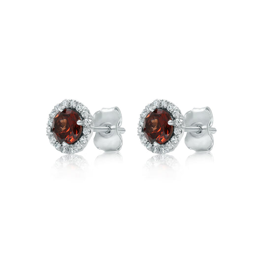 Garnet and diamond halo stud earrings