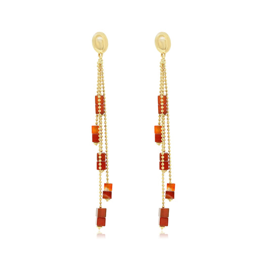 pair of 18k yellow gold ball chain drop earrings attached with rectangular tiger eye sections for casual wear.
