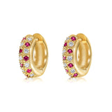 "Diamond and ruby ""huggy"" style earrings in 18k yellow gold"