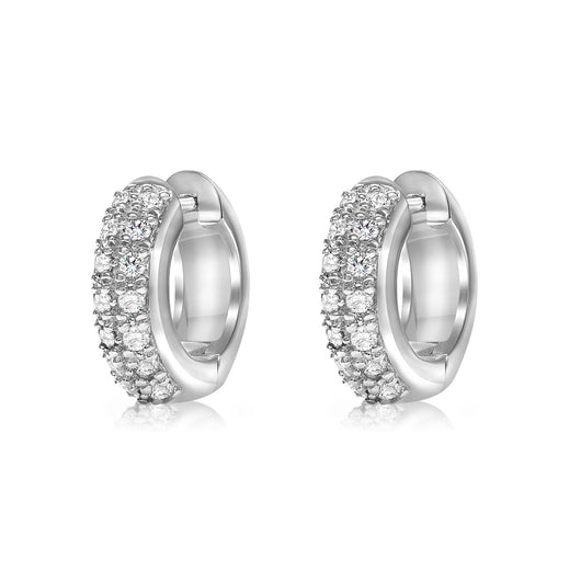 White gold diamond huggy style earrings