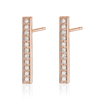 14k diamond bar earring in rose gold
