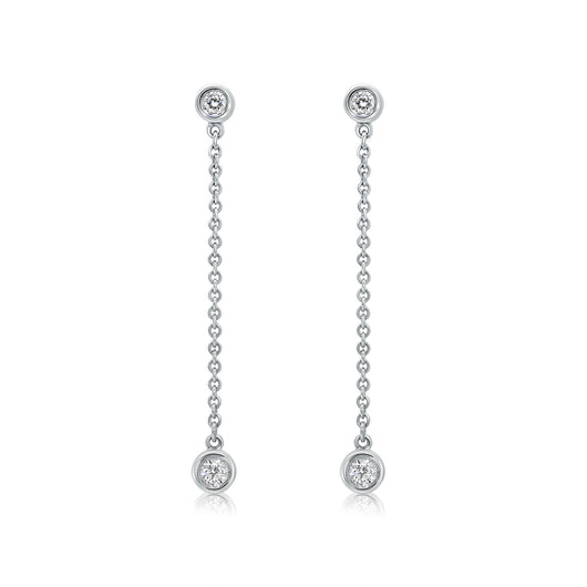 18 kt white gold bezel set diamond drop earrings