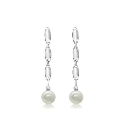 White gold oval link and pearl drop earrings