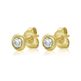 18kt bezel set diamond studs in yellow gold