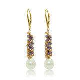 Faceted citrine and amethyst ball earring with freshwater pearl