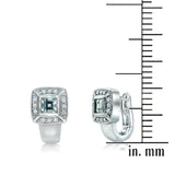 Diamond and aquamarine earrings in 18k white gold