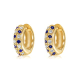 "Diamond and sapphire ""huggy"" style earrings in 18k yellow gold"