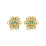 Diamond and emerald flower earrings