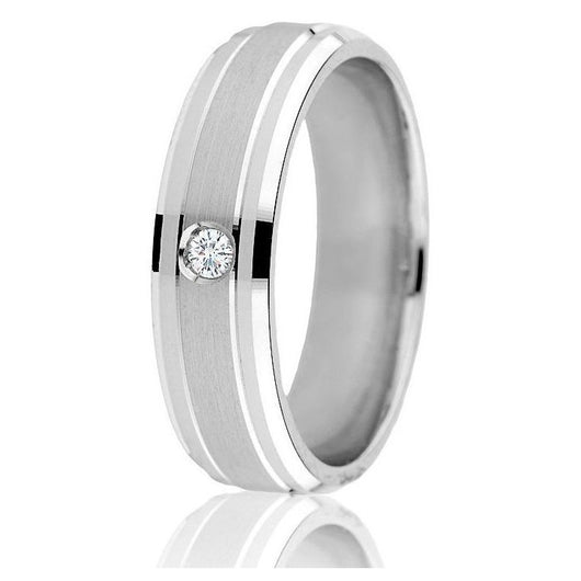 Bright step cut edge with a satin finish centre highlights the one round 0.05 ct diamond in this 14k white gold band.