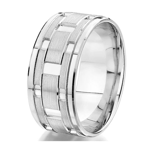 Dynamic 10 mm white gold ring with white gold polished sectionals and a contrasting satin finish.