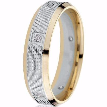 Striking two-tone yellow gold engraved bright edge with 5 strip centre white gold inlay milgrain detail set with 5 round natural brilliants (TW.10 cts.) give this band a distinctive look.