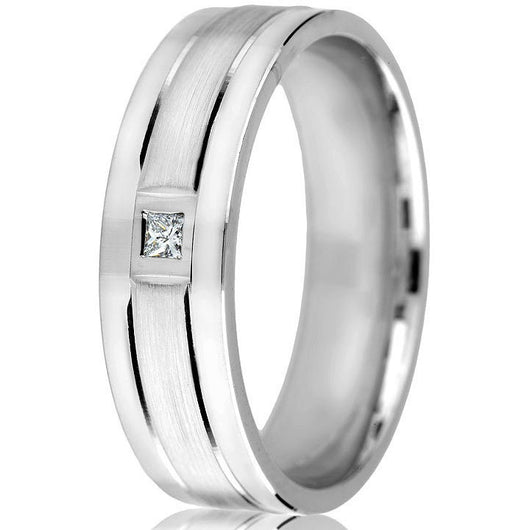 Sleek, sophisticated 6 mm comfort-fit diamond cut bright line wedding band, satin finish centre with a square diamond (0.05).