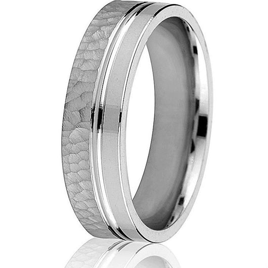 Engraved comfort fit hammered and smooth 6 mm band in white gold.