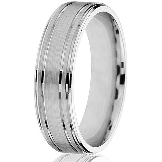 Distinguished classic flat 6 mm engraved band with a satin finish in 14k white gold.