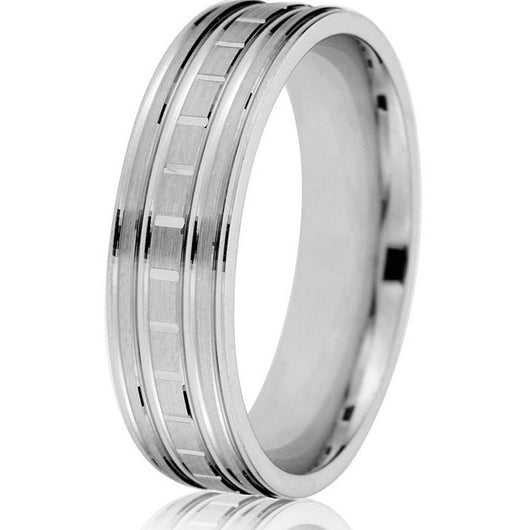 Comfort fit 6 mm engraved wedding ring with an engraved sectional centre and great detailing in white gold.