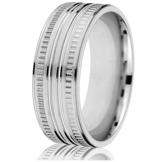 An 8mm comfort-fit wedding band with coin ridging and bright engraved lines circling the band in white gold.
