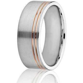 Modern white gold comfort-fit 8mm wedding ring with two off-set yellow gold inlay lines circling the band in 14k gold.