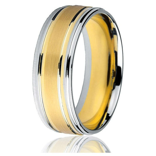 Classic gents' 8 mm flat comfort-fit band two-tone yellow gold and white gold with a stepped bright edge in 14k gold.