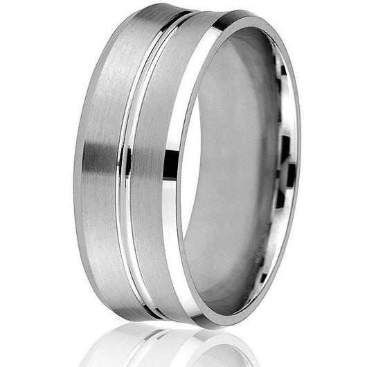 Convex bevelled edge with two bright grooves in centre circling this 8mm comfort fit wedding band in 10k white gold.