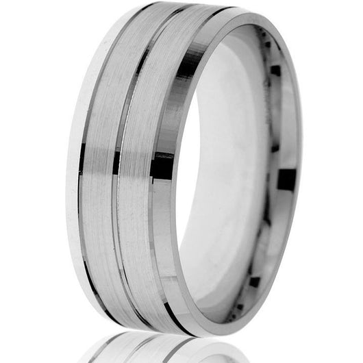 Striking, bright bevelled edge with sectional grooves in this 8mm wedding band with a satin finish in white gold.