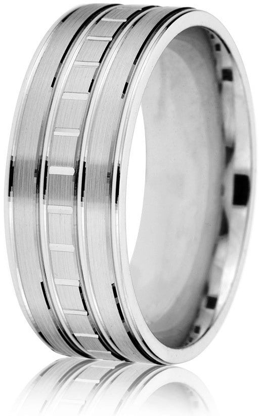 Smart crisp sectional engraving on this three-strip 6mm comfort-fit band make this ring very impressive in 10k white gold.