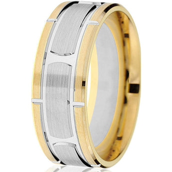 Dynamic 14k two-tone comfort-fit 8mm wedding band with engraved white gold inlay and vertical grooves.