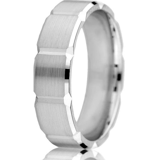 This 6 mm comfort-fit wedding band features bold engraved rectangular sections with a satin finish in 14k white gold.