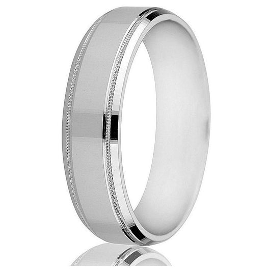 A beveled edge, milgrain detail and a satin finish centre make this 14k 6mm flat comfort-fit band notable.