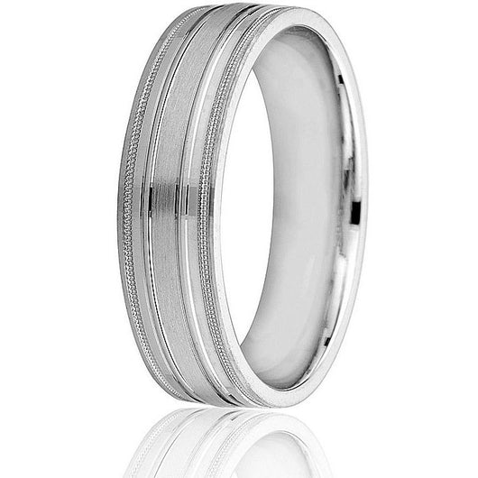 Distinguished classic flat engraved 6mm band with milgrain detail in white gold.