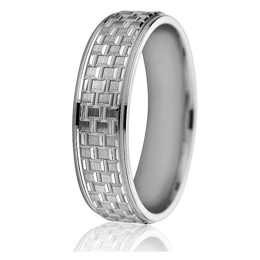 Bold, engraved rectangular pattern on this 6mm comfort fit wedding band in 10k gold with a bright step edge.