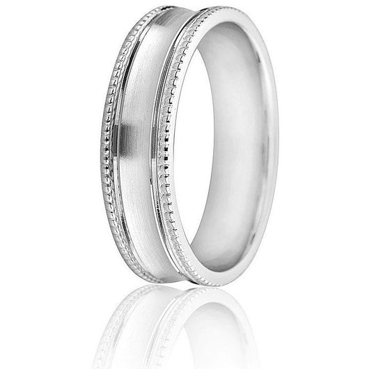 Wedding ring with milgrain edge and a satin finish convex center in 6mm 10k white gold.