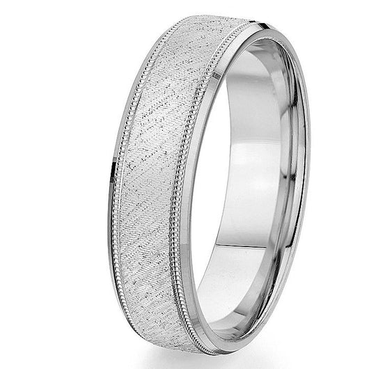 Beveled bright edge with a milgrain detail and a brushed centre in this 10k white gold, 6mm comfort fit wedding band.