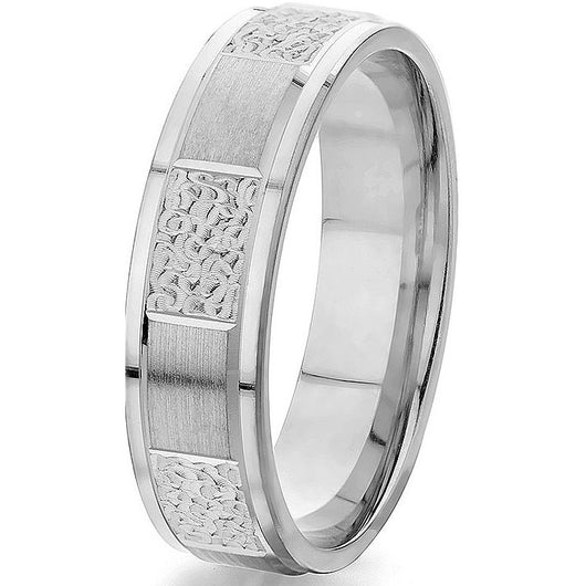 Striking 6 mm comfort-fit engraved white gold wedding band with alternating engraved and satin finish.
